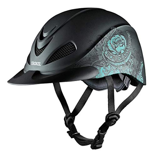 - Troxel Rebel Turquoise Rose Low Profile Western Riding Helmet SEI/ASTM Certification (Medium)