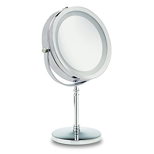 Reflections Bedroom Vanity (LED Double-Sided Lighted Makeup Mirror,1X/10x Magnification, Magnifying Mirror for Vanity, Bathroom, Bedroom, Round Shaped)