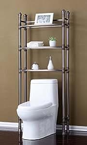 best living monaco bathroom space saver etagere shelf brushed titanium home kitchen. Black Bedroom Furniture Sets. Home Design Ideas