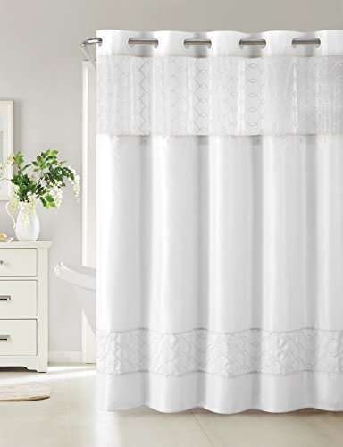 Hookless RBH40MY096 Downtown Soho Shower Curtain with Peva Liner -  White by Hookless (Image #1)