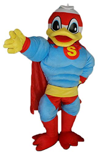 ARISMASCOTS Adult Funny Superhero Duck Mascot Costume Animal Mascots Party Character Design -