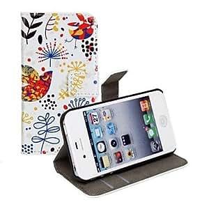 MOFY- Hermosa modelo de la peque–a flor de la PU cuero de la caja de cuerpo completo con el soporte y ranura para tarjeta para iPhone 4/4S