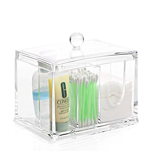 Richboom Clear Acrylic Makeup Organizer, Q tips Cotton Swab Holder, Cleaning Pad Holder and Swab Storage Canisters, 4 Sections