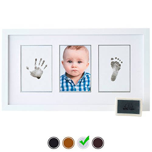 Baby Handprint Kit by Little Hippo – Baby Picture Frame (WHITE)  Non Toxic Ink! Unique Baby Gifts Personalized for Baby Shower Gifts! Baby Boy Gifts,…