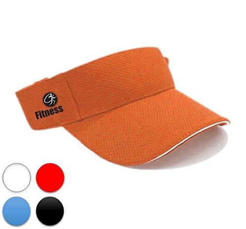 CT Goods Visor Cap (Orange): Quick Dry/Fast Absorption, Indoor/Outdoor Activity, Light-Weighted Sport Style, Water Resistant Fabric, Adjustable (Visor Cap Sporting Goods)