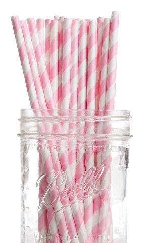 Dress My Cupcake Bubblegum Pink Striped Paper Straws, 25-Pack (Bulk Candy Jars)