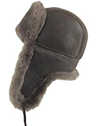 Shearling Sheepskin Leather Aviator Russian Ushanka Trapper Winter Fur Hat