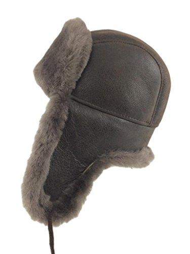 Zavelio Men's Shearling Sheepskin Aviator Russian Bomber Hat Medium Cashmere (Bomber Trapper)