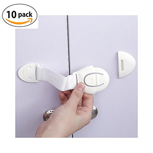 MikiAyla 10pcs Child Safety Cloth Locks for Drawer Door, Cabinet, Oven, Cupboard, Toilet Seat | Multi-Purpose Use | No Drilling Needed | Super Strong 3M Adhesive