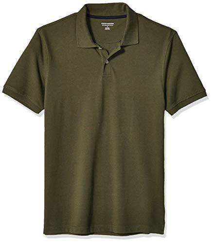Double Placket - Amazon Essentials Men's Slim-Fit Cotton Pique Polo Shirt, Olive, Small