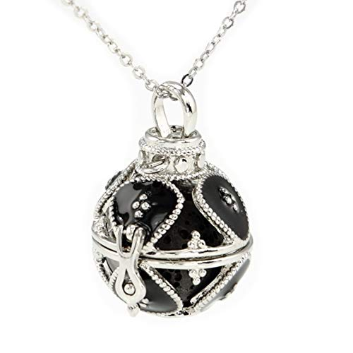 Sier Royal Aromatherapy Perfume Essential Oil Diffuser Necklace Locket Lava Stone (Black) (Sier Oil)