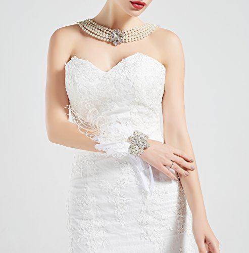 BABEYOND 1920s Wedding Wrist Corsage Gatsby Peacock Feather Bridal Wristband Corsage Roaring 20s Flapper Wedding Costume Accessories (White by BABEYOND (Image #3)