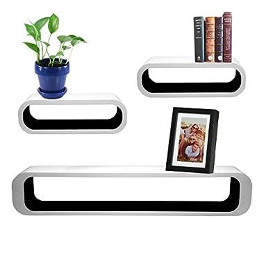 3pc Cozee Black & White Oblong Rectangular Floating Shelf Set Wall Mount Shelves