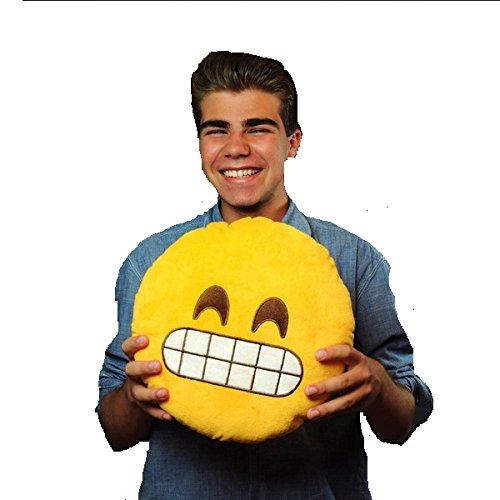 Gadget Paradise Grin Emoji Round Cotton Car Pillow Cushion (Yellow, Medium)