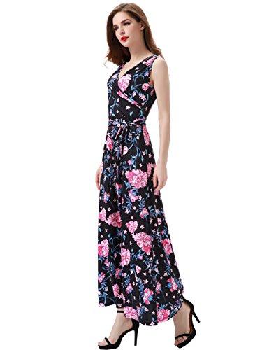 Melynnco Women's Floral Sleeveless Faux Wrap V Neck Long Summer Maxi Dress Small Black (Dress Sleeveless Silk Floral)