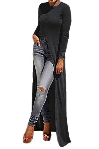 KAKALOT Women's Long Sleeve Side Split Front Clubwear Party Maxi Dress Tops XL Black (Leg Split Dress)