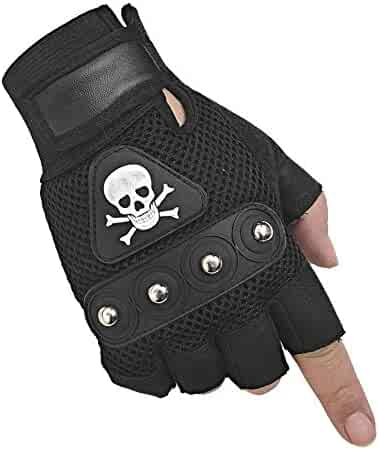 4e58ca71a Men's Punk Rock Biker Gothic Skull Gloves Motorcycle Skeletal Rivet Cycling  Driving Fingerless Mitten