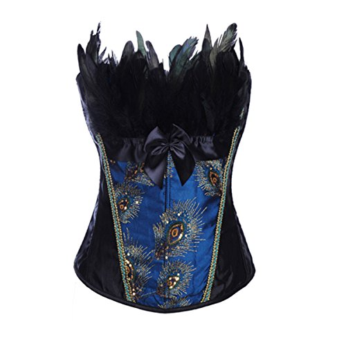 JL Strapless Peacock Splendid Feather Boned Corset Bustier Top XX-Large (Sexy Peacock Costume)