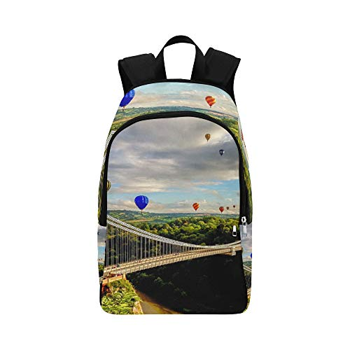 Clifton Suspension Bridge Panoramic View Casual Daypack Travel Bag College School Backpack for Mens and Women