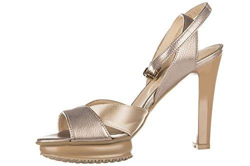 Hogan Damen Leder Sandalen mit Absatz Sandaletten fasce incorciate beige