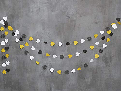 Wedding Decorations|20 feet Heart Hanging Decorations|Gold Glitter Heart Banner|Black and White Heart Decorations|goldanniversary Garland|Heart Wedding décor ()