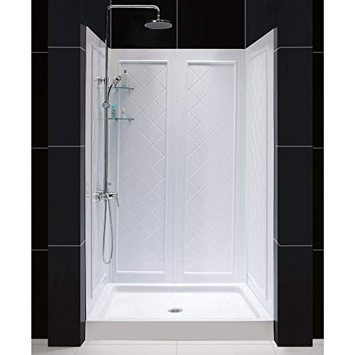 - DreamLine DL-6070C-01 48 in. W x 32 in. D Base and QWALL-5 Shower Backwall Kit in White