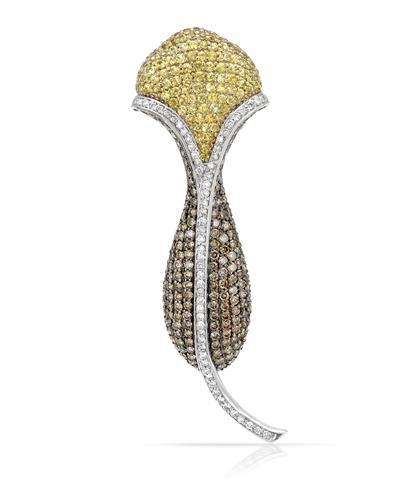 14K Two Tone Yellow Gold Yellow Sapphire & Round Diamond Brooch ()