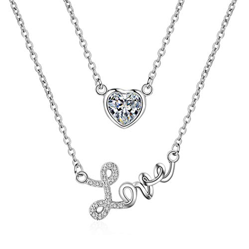 - LOVESILVER 925 Sterling Silver Love Heart Pendant Necklace Double Set Chain,18