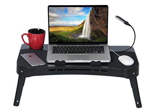 14 In Blk Usb - DG SPORTS Laptop Table Stand - 2-Sided Design Allows You to Place Mouse on The Left or Right - Repositionable LED Light - Integrated Cooling Fan