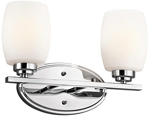 - Kichler 5097NI Bath Vanity Wall Lighting Fixtures, Brushed Nickel 2-Light (15