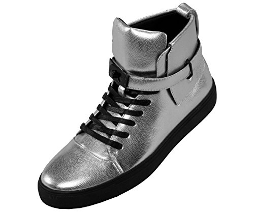 Sio Mens High Top Designer Lace-Up Sneaker, Metallic Pebble Grain Upper with Black Slide Buckle and - Silver Sneakers Mens