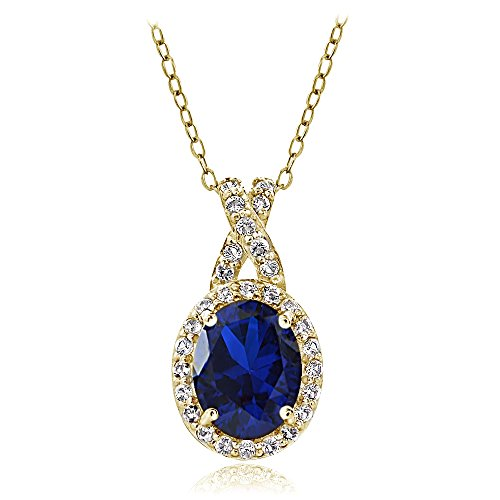 - Yellow Gold Flashed Sterling Silver Created Blue Sapphire & White Topaz X and Oval Necklace