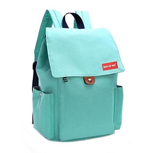 Solid Oxford School Backpack Laptop College Student Rucksack Shoulder Bag for Teenages (Mint Green)