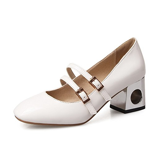 Amoonyfashion Kvinners Kitten Hæler Fast Spenne Lukket Firkant Tå Pumpe-sko  Hvit. sko; patent lær; gummisåle ...