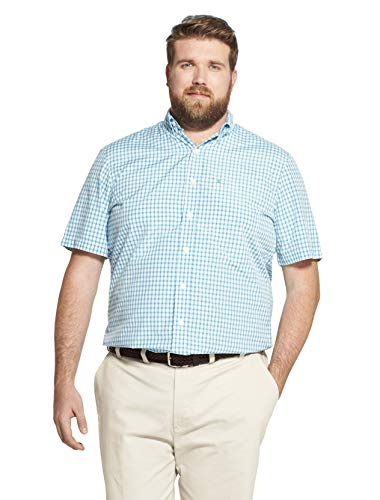 IZOD Men's Big and Tall Breeze Short Sleeve Button Down Gingham Shirt, Caneel Bay, 2X-Large ()