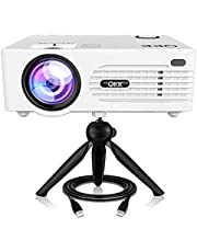 """QKK Latest Upgraded 3000Lumens Mini Projector with 176"""" Projection Size, 1080P Supported Video Projector, Compatible with HDMI, VGA, AV, USB for Home Theater, Outdoor activities and More"""