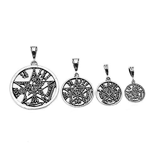 (Pentagram Pendant Tetragrammaton Charm Solid Oxidize Design 925 Sterling Silver Religious Pagan Star)