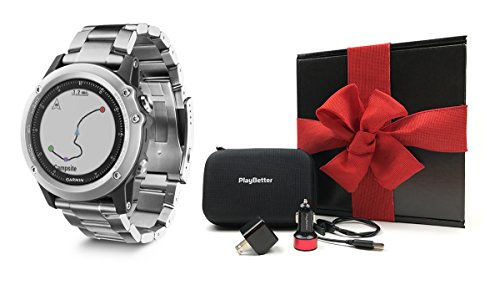 Garmin fenix 3 Sapphire (Titanium) GIFT BOX Bundle | Includes Multi-Sport GPS Fitness Watch, PlayBetter USB Car & Wall Adapter, USB Charging Cable & GPS Carrying Case | Packed in Black Gift Box