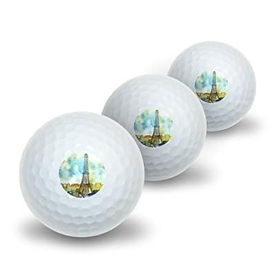 Watercolor Paris - Eiffel Tower France Novelty Golf Balls 3 Pack