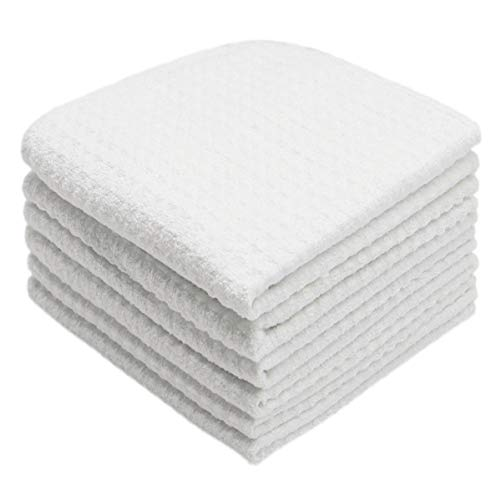Mia'sDream Thick Microfiber Dish Cloths Waffle Weave Kitchen Cleaning Cloth Dish Rags 12inch X 12inch 6 Pack White