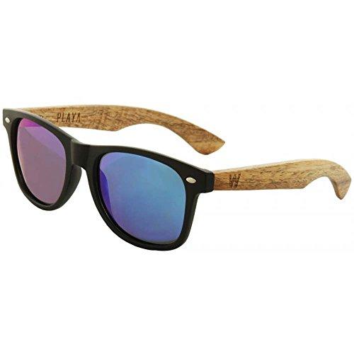 Woodzee Playa Black Acetate PYAPWD-BKBLPR Pol. Blue Purple Wood Sunglasses