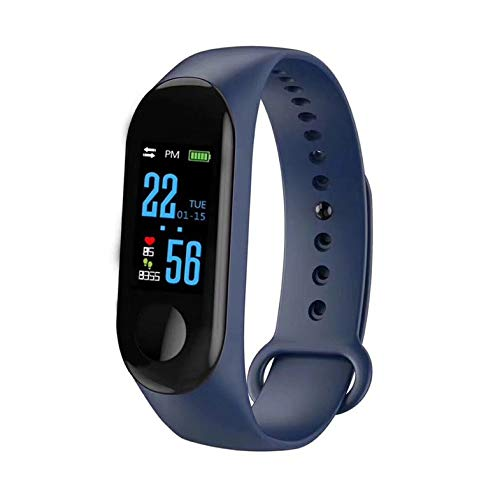 CamKpell M3 Smart Bracelet Color Screen IP68 Waterproof Heart Rate Monitor Replaceable Watch For Android IOS – Blue