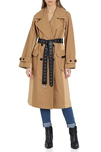Avec Les Filles Women's Belted Cotton Mid Length Trench Coat with Color Block Panels, Safari, Medium