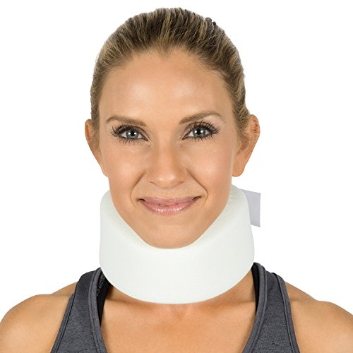 Vive Neck Brace - Soft Foam Cervical Collar - Vertebrae Whiplash Wrap Aligns and Stabilizes Spine - Adjustable Spinal Support Can Be Used While Sleeping and Relieves Pain, Pressure (Thin, White)