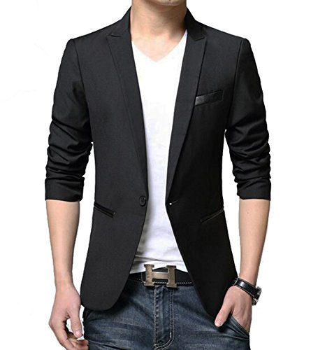 Benibos Men's Slim Fit Casual Premium Blazer Jacket (S, Black)