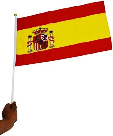 Sunnyshinee Banderas de España de plástico con postes de mano para el ahorro de mano juego de 10 unidades: Amazon.es: Jardín