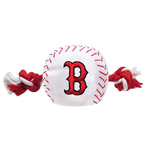 (MLB BOSTON RED SOX Baseball Rope Toy for DOGS & CATS. Tough nylon, Sporty Baseball Design, Heavy-duty ropes with Inner SQUEAKER)