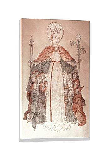 kunst für alle Glass Picture: 15. Jahrhundert Schutzmantelmadonna, Wall Picture, Brilliant Art Print on Real Glass, 19.7x27.6 inch / 50x70 -