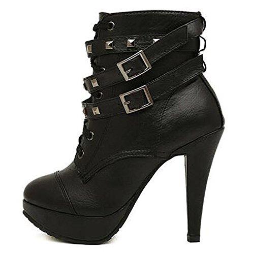 Style Up High Stiletto ROSEUNION Platform Ladies Punk Heel Black Black Womens Lace Boots Ankle Biker Boots zwXxztqIB