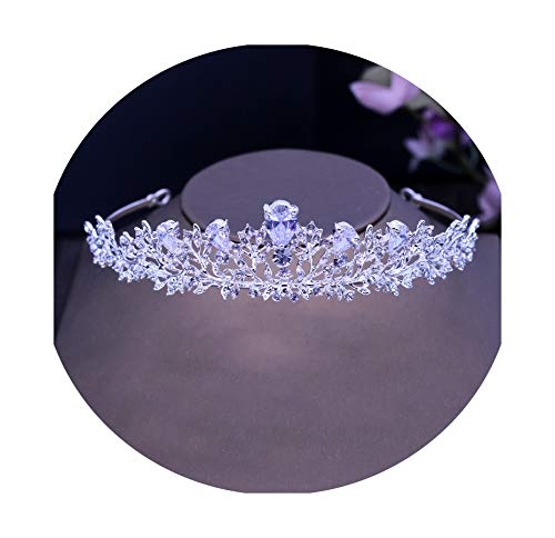 Stunning Vintage Prong Setting Leaf Cubic Zircon Wedding Tiara CZ Bridal Queen Princess Pageant Royal Party Crown